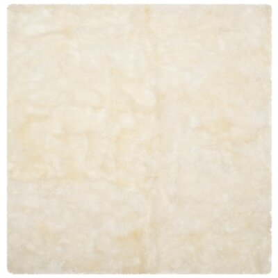Allison Hand-Woven Faux Sheepskin White Area Rug Rug Size: Novelty Square 6