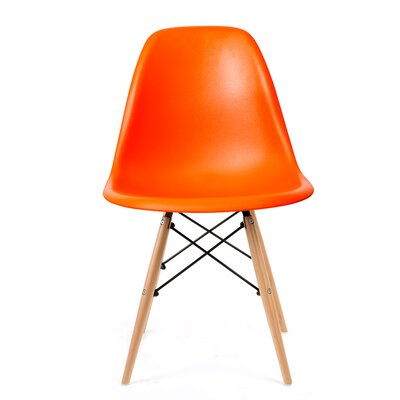 Brook Modern Solid Wood Dining Chair Finish: Orange Natural