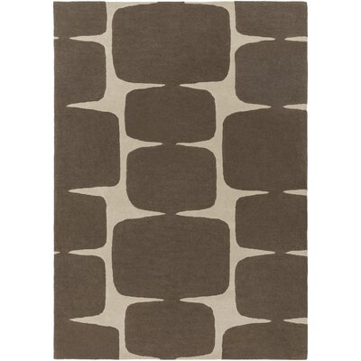 Baltwood Hand-Tufted Dark Brown/Khaki Area Rug Rug size: 5 x 8