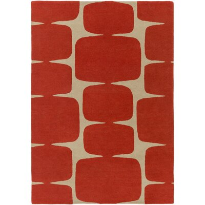 Baltwood Hand-Tufted Burnt Orange/Khaki Area Rug Rug size: Rectangle 5 x 8