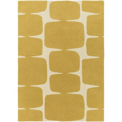 Baltwood Hand-Tufted Mustard/Cream Area Rug Rug size: Rectangle 5 x 8