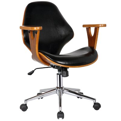 Felson Mid-Back Leather Desk Chair Upholstery: Polished Obsidian