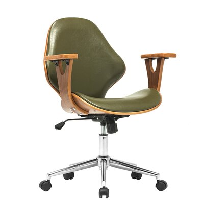Felson Mid-Back Leather Desk Chair Upholstery: Green