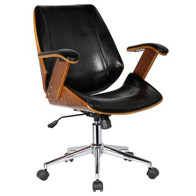 Smythe Mid-Back Leather Desk Chair Upholstery: Polished Obsidian