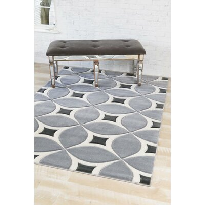Dossantos Geometric Gray Indoor/Outdoor Area Rug Rug Size: 52 x 72