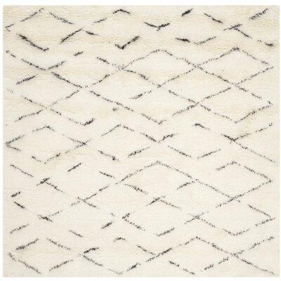Bermondsey Ivory Shag Area Rug Rug Size: Square 6