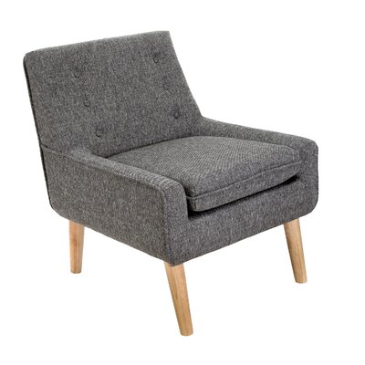 Reese Tufted Fabric Retro Slipper Chair Upholstery: Charcoal