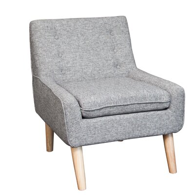 Reese Tufted Fabric Retro Slipper Chair Upholstery: Grey
