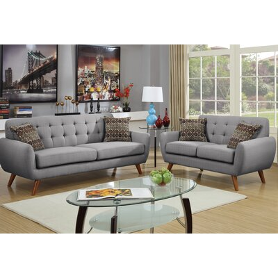 Wooten 2 Piece Living Room Set Upholstery: Gray