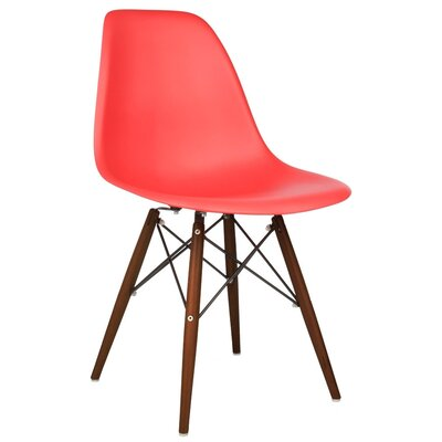 Harrison Solid Wood Dining Chair Finish: Red