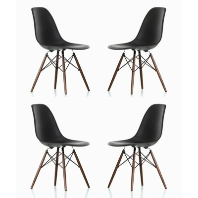 Harrison Matte Solid Wood Dining Chair Finish: Black