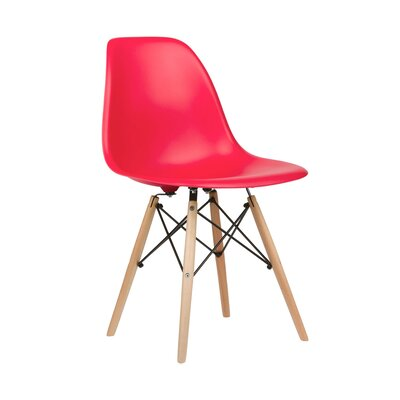 Harrison Solid Wood Dining Chair Upholstery: Red