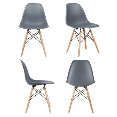 Harrison Solid Wood Dining Chair Upholstery: Dark Gray