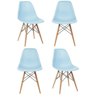Harrison Solid Wood Dining Chair Upholstery: Light Blue