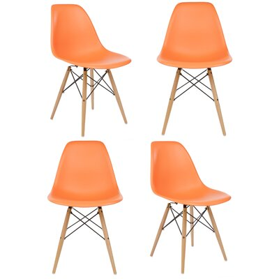 Harrison Solid Wood Dining Chair Upholstery: Orange