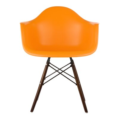 Hamburg Modern Solid Wood Dining Chair Finish: Orange