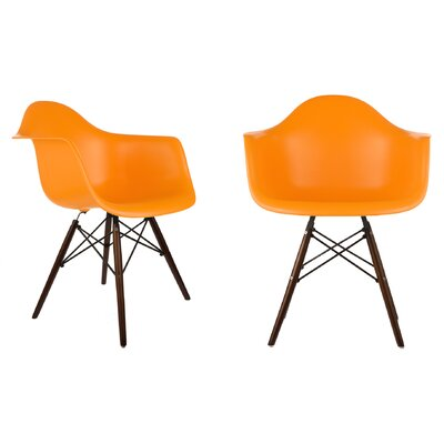 Harrison Contemporary Solid Wood Dining Chair Finish: Orange