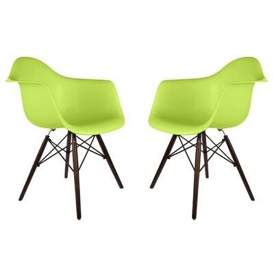 Harrison Contemporary Solid Wood Dining Chair Finish: Green