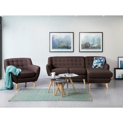 Kelton Solid Sectional Upholstery: Chocolate