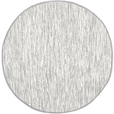 Alcurve Indoor/Outdoor Silver Area Rug Rug Size: Round 4