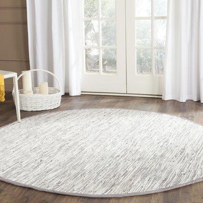 Alcurve Indoor/Outdoor Silver Area Rug Rug Size: Round 6