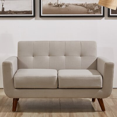 Rumsey Loveseat Upholstery: Tan