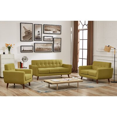 Nilson 3 Piece Living Room Set Upholstery: Olive Green
