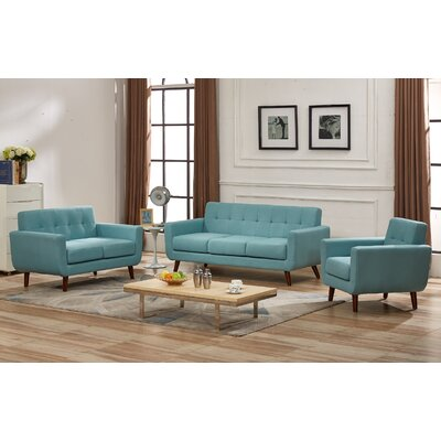 Nilson 3 Piece Living Room Set Upholstery: Eton Blue