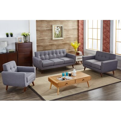 Magic 3 Piece Living Room Set Upholstery: Gray