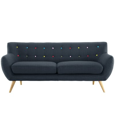 Milland Mid-Century Sofa Upholstery: Polo Blue with Color Buttons