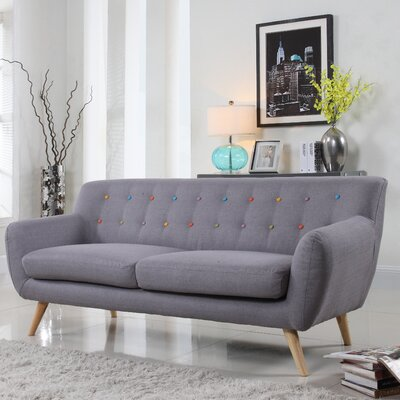 Milland Mid-Century Sofa Upholstery: Light Grey with Color Buttons