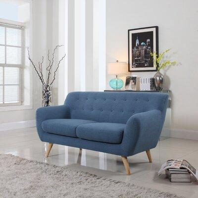 Cal Mid-Century Loveseat Upholstery: Blue