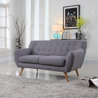 Cal Mid-Century Loveseat Upholstery: Grey Color Buttons