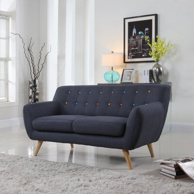 Cal Mid-Century Loveseat Upholstery: Polo Blue Colored Buttons