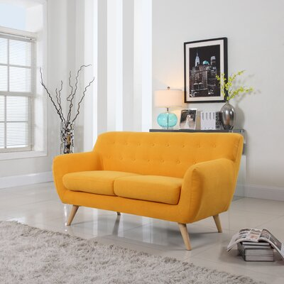 Cal Mid-Century Loveseat Upholstery: Yellow