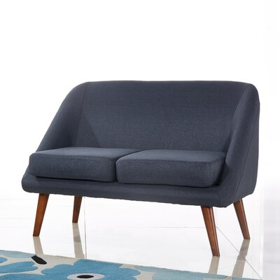 Caterina Modern Style Loveseat Upholstery: Blue