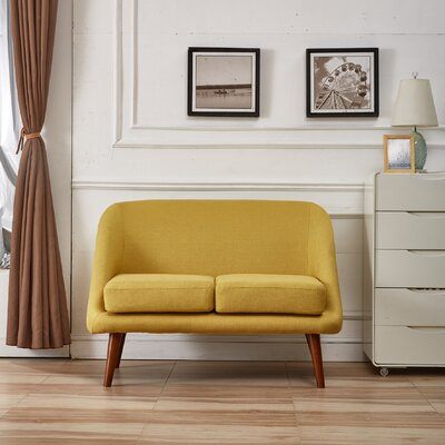 Caterina Modern Style Loveseat Upholstery: Naples Yellow