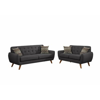 Takeo 2 Piece Sofa Set with 4 Pillows Upholstery: Ash Black