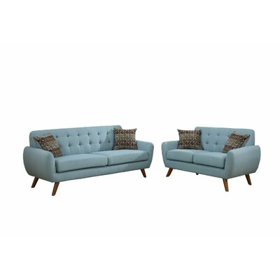 Langley Street LGLY5247 Takeo 2 Piece Sofa Set with 4 Pillows Upholstery