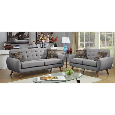 Takeo 2 Piece Living Room Set Upholstery: Gray