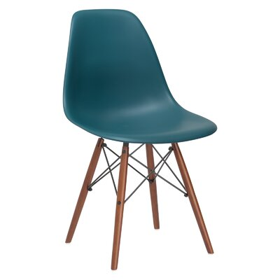 Quintus Side Chair Finish: Walnut, Color: Teal