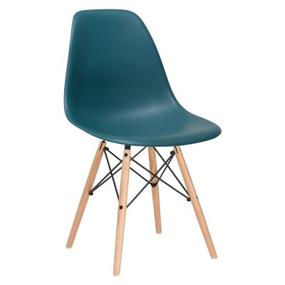 Quintus Side Chair Color: Teal, Finish: Natural