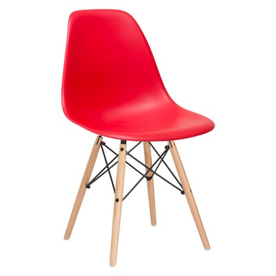 Quintus Side Chair Color: Red, Finish: Natural