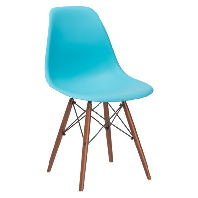 Quintus Dining Chair Finish: Walnut, Color: Aqua