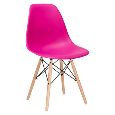 Quintus Side Chair Finish: Natural, Color: Fuchsia