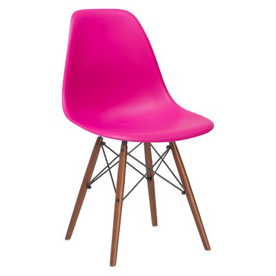 Quintus Side Chair Finish: Walnut, Color: Fuchsia