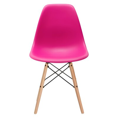 Quintus Dining Chair Finish: Natural, Color: Fuchsia