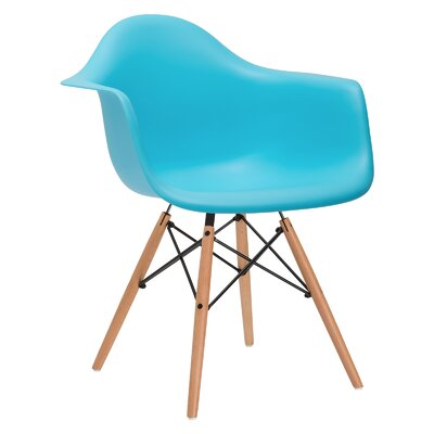 Quintus Dining Chair Upholstery: Aqua, Leg Finish: Walnut