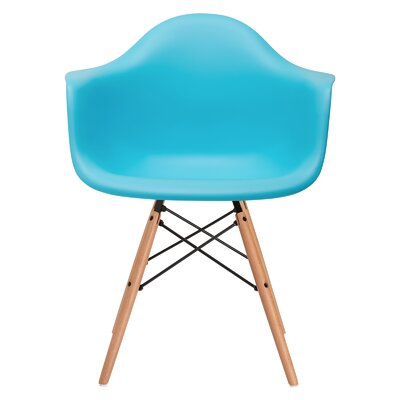 Quintus Dininger Solid Wood Dining Chair Upholstery: Aqua, Leg Finish: Walnut