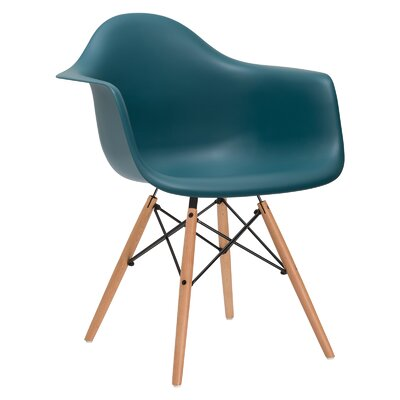 Quintus Solid Wood Dining Chair Upholstery: Teal, Leg Finish: Natural